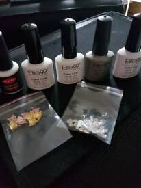 5 UV gel polishes and 2 bags of nail gems