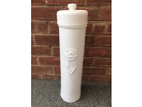 Vintage Free Standing White Toilet Roll Holder - Storage - Classic ROSE Design - Plastic Holder