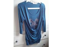 Annabele Dark Turqouise long top tunic with silver ribbon size 10 [S]
