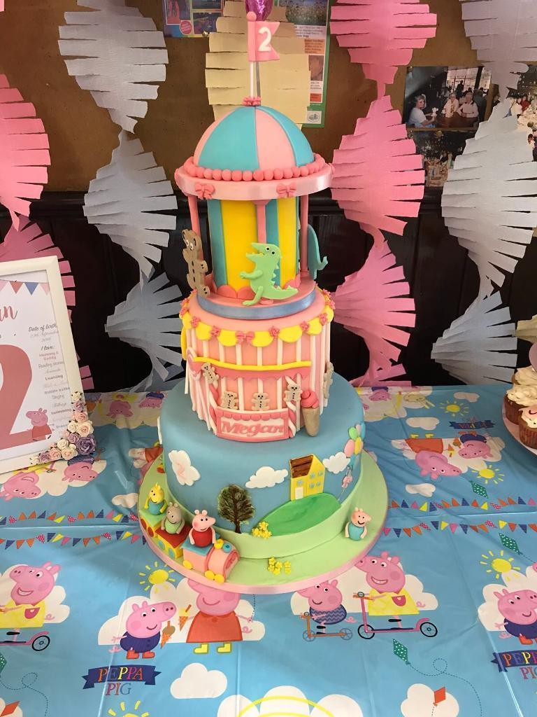 Terrific Peppa Pig Birthday Cake Artificial 3 Tier In Pontardawe Swansea Birthday Cards Printable Inklcafe Filternl