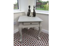 Painted side table / lamp table with drawer and cabriole legs