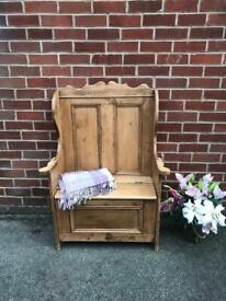 Antique Pine Pew Monks Bench Ottoman Storage Seat Hall Vintage Country Cottage