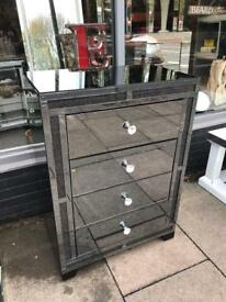 Sparkle Crystal Smoked Mirrored Chest Of Drawers