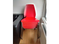 8 no IKEA Vilmar red chairs as new