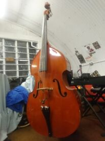 Solid wood double-bass 3/4 with bow