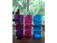 5 Colored plastic glasses - 350ml and 200ml