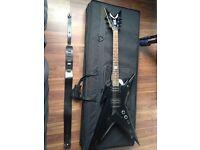 Dean Dime Razorback in Black - Electric Guitar w/ soft case & lock on strap