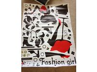 SHEET OF SELF ADHESIVE FASHION STICKERS FOR WALL AS PHOTO. REALLY TRENDY