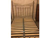 Silver Metal Double Bed Frame