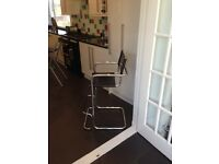 Bistro Chairs, Black Leather with Chrome