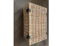 Hamper Style Basket with Leather Straps