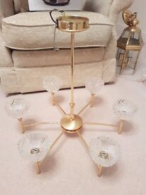 6 Pronged Gold Ceiling Light with Crystal shades
