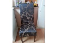Dining chairs set of 4 In brown & black flowers