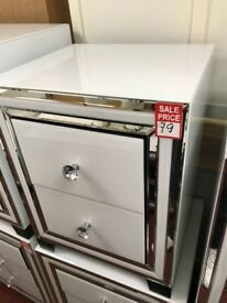 2 drawer white mirror bedside