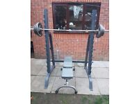 BODYMAX WALK IN SQUAT RACK WITH BODY POWER WHITE 7' OLYMPIC BAR, YORK FITNESS BENCH AND PLATES