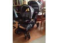 Twin Double Seat Pushchair Stroller Canopy Duo Pram Buggy with Shopping Basket