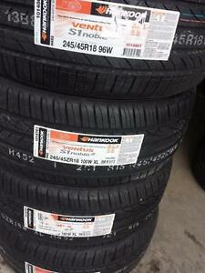 BRAND NEW WITH LABELS ULTRA HIGH PERFORMANCE  ' W ' RATED HANKOOK ALL SEASON 245 / 45 / 18 SET OF  FOUR.