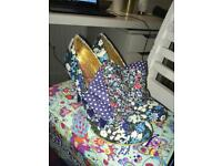 Irregular Choice FlickFlack heels in navy, size 5