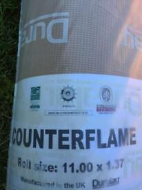 Carpet underlay counterflame