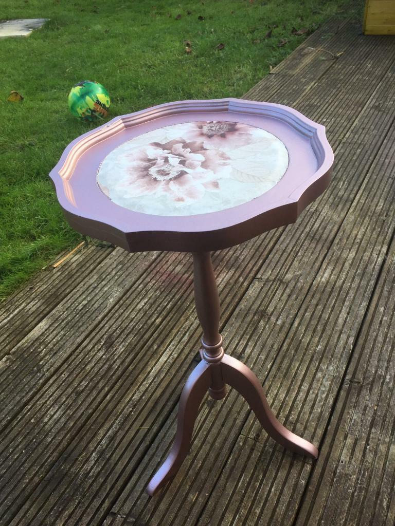 Small upcycled Decoupage side table