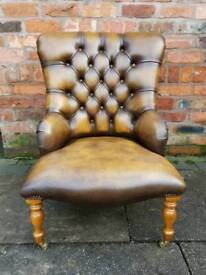 Chesterfield genuine leather SAXON chair. AS NEW RRP. £800