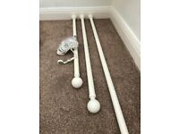 Ivory Coloured Metal Curtain Poles x 3 Various Sizes