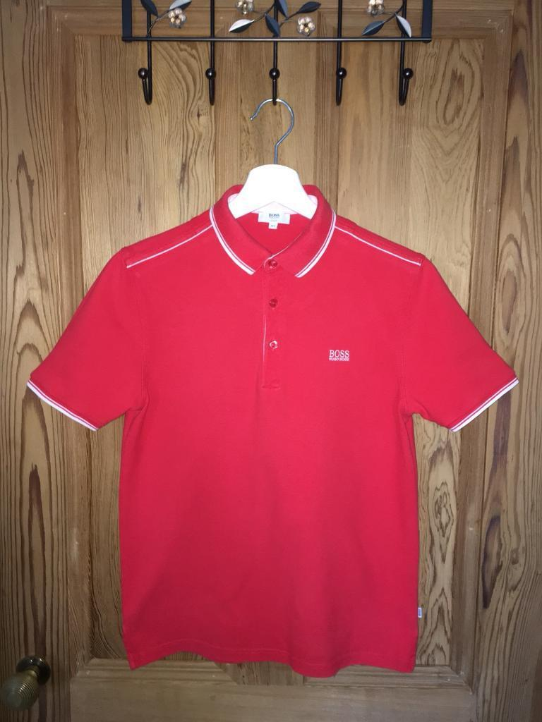 04da387a Boys Red Hugo Boss Slim Fit Polo Shirt Size: Age 14 Years / Small | in ...