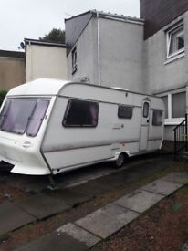 Clubman 500/5 5 berth caravan, some age related marks.porch awning , electrical hook up and more