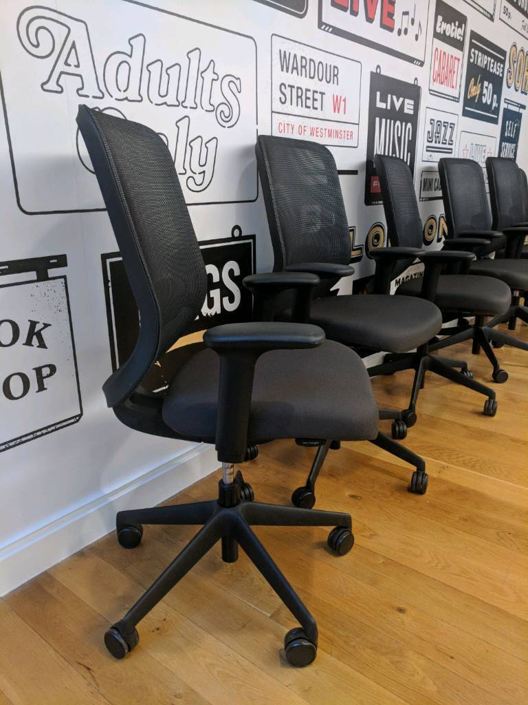 Chair Black Leather Executive Office by Orangebox Task FREE MANCHESTER DELIVERY
