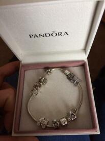 Pandora bracelet,6 charms and safety chain
