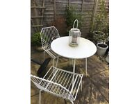 Bistro white garden table snd two chairs