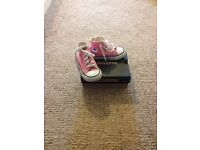 Pink size 5 converse high tops