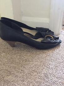 Size 6&1/2 black leather kitten heels
