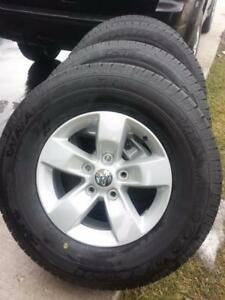 BRAND NEW TAKE OFF 2017 DODGE RAM 17 INCH WHEELS  WITH HIGH PERFORMANCE GOODYEAR WRANGLER 265 / 70 / 17  ALL SEASON TIRE