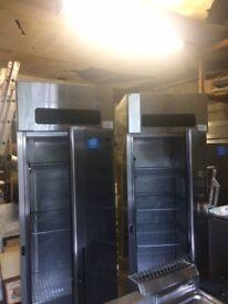 2No. stainless steel tall fridges