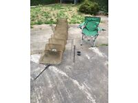 Keep net, rod, bite alarm and fold down chair for sale