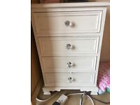 White shabby chic bedside drawers