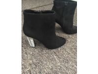Black ankle boots size 5 with cute heel