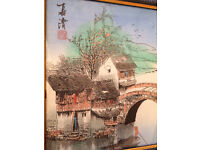 4 Beautiful hand painted original framed watercolour oriental paintings