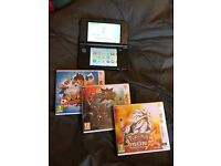 Nintendo 3DS XL - Black + 4 Games (Pokemon and others)