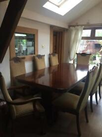 Dining table, 8 chairs, sideboard