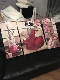 Geisha 3 piece canvas