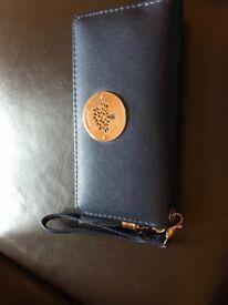 nave blue leather purse 20cm x 10cm unused