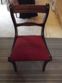 Dining room chairs-Qty 4- Mahogany with burgundy seat pads