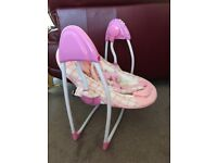 Pink baby swing with 3 speeds and music