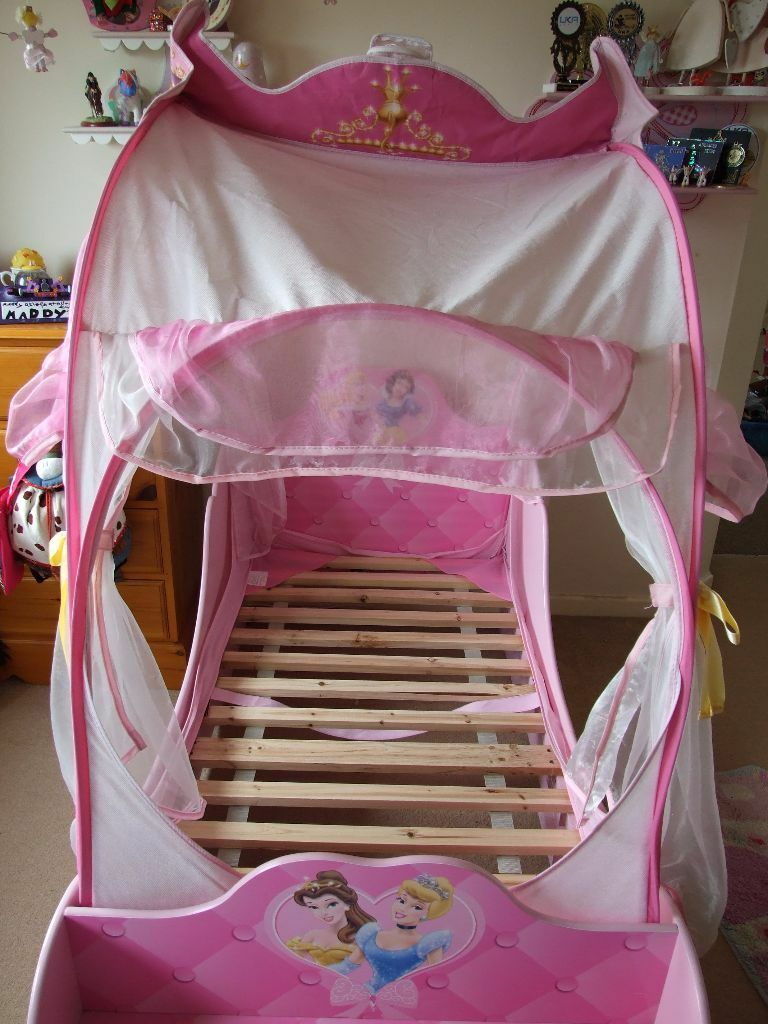 Disney princess carriage bed with light up canopy in for Childrens beds for sale