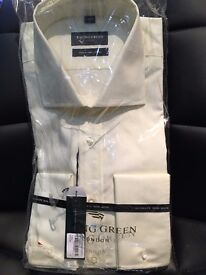 New Racing Green Mens Shirt (size 17 - light yellow/ivory)