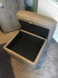 Beige large leather storage footstool, excellent condition