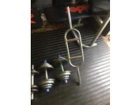2 sets of dumbells and bar £30