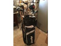 Dunlop golf bags and assorted clubs